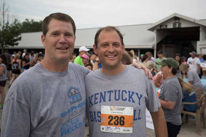 "Congressman Andy Barr and Shepherd's House CEO Jerod Thomas at the 18th annual ""Run for Recovery"""