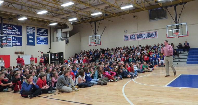 Jerod presenting at Bondurant Middle School